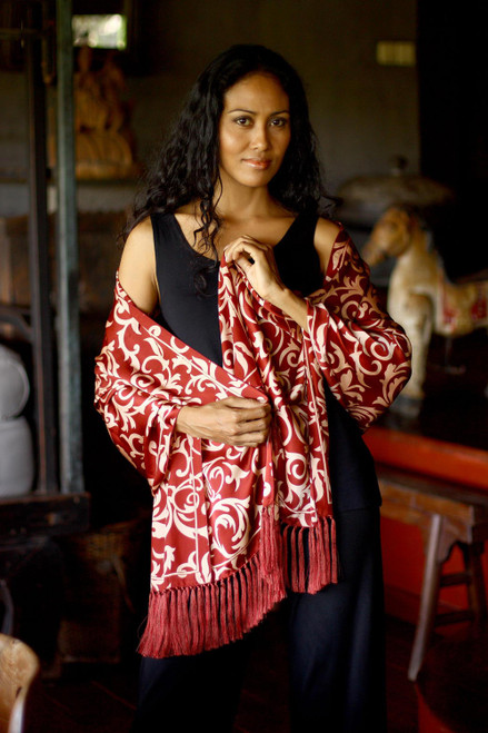 Handmade Batik Silk Patterned Shawl 'Ruby Royale'