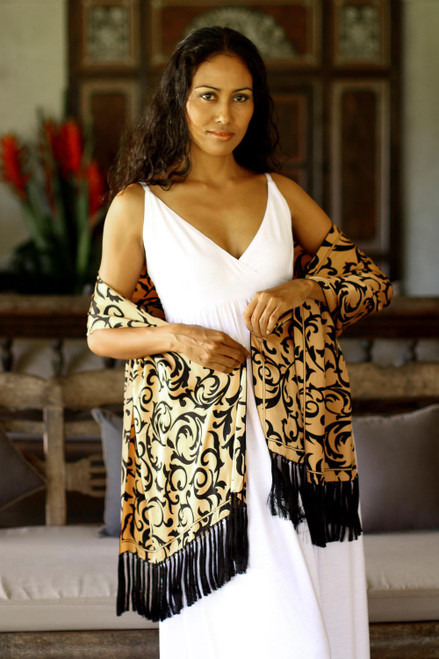 Silk batik shawl 'Royale'