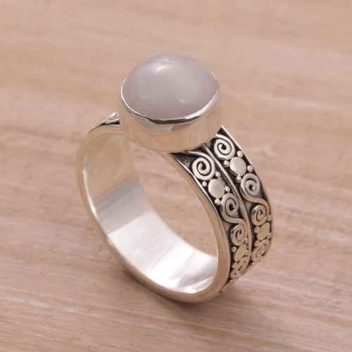 Artisan Crafted Sterling Silver and Rose Quartz Ring 'Dawn Sky'