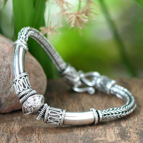 Handcrafted Sterling Silver Chain Bracelet 'Thai Legend'