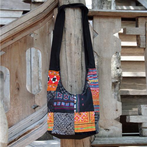 Cotton sling tote bag 'Hmong Colors'