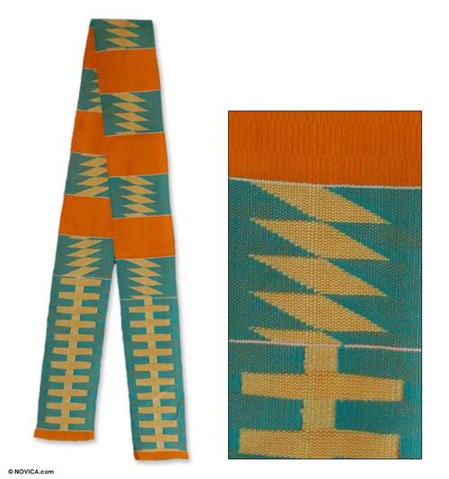 Cotton kente cloth scarf 'Sky Ladder'
