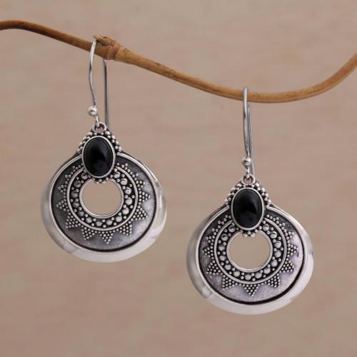 Handcrafted Sterling Silver and Onyx Dangle Earrings 'Royal Medallion'