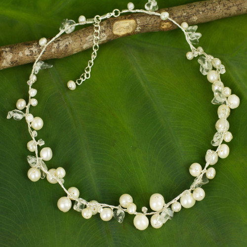 Thai Pearl Necklace 'River of Snow'