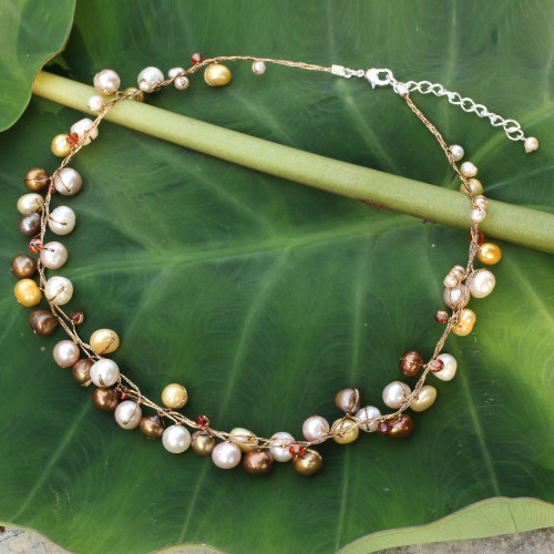 Handmade Pearl Necklace 'River of Gold'