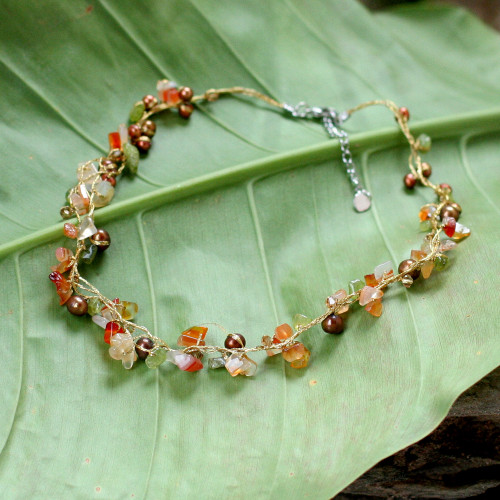 Beaded Carnelian and Pearl Necklace 'Tropical Elite'