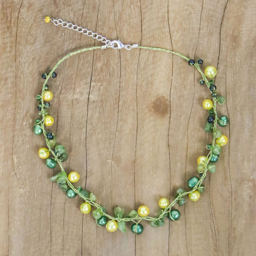 Handmade Cultured Pearl and Peridot Necklace 'Tropical Elite'