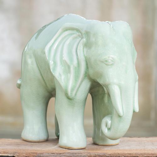 Unique Celadon Ceramic Sculpture 'Elephant Grace'