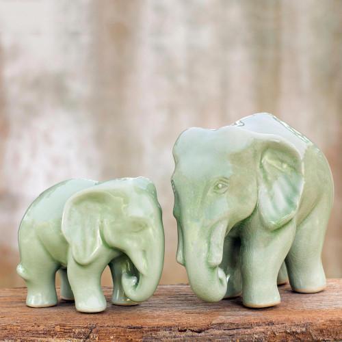 Celadon ceramic statuettes Pair 'Lovely Family'