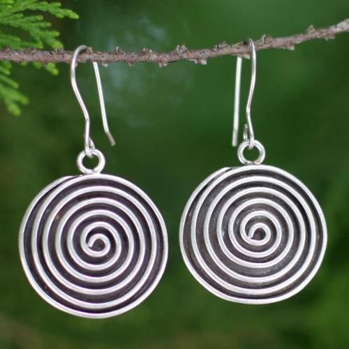 Hill Tribe Sterling Silver Dangle Earrings 'Hypnotized'