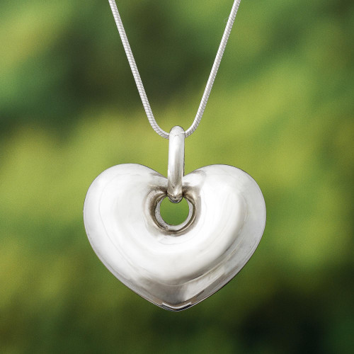 Handmade Peruvian Sterling Silver Heart Necklace  'Full of Love'