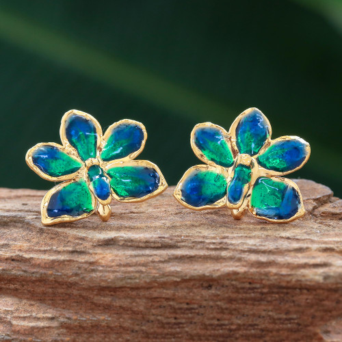 Natural orchid gold-plated flower earrings 'Aqua Perfection'