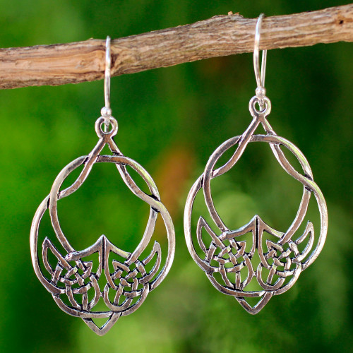 Handcrafted Sterling Silver Dangle Earrings 'Lotus Lace'