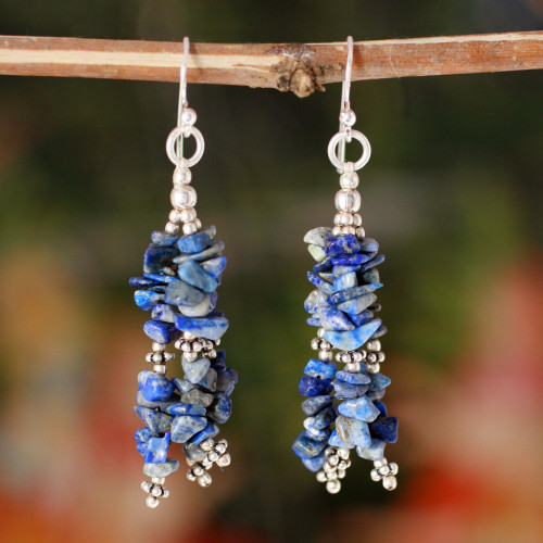 Lapis Lazuli Earrings Hand Crafted with Sterling Silver  'Rejoice'