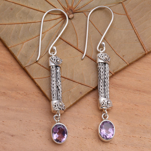 Amethyst Sterling Silver Dangle Earrings 'Bali Birthright'
