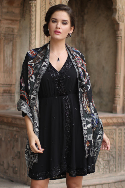Fair Trade Floral Wool Embroidered Wrap Shawl 'Eventide'