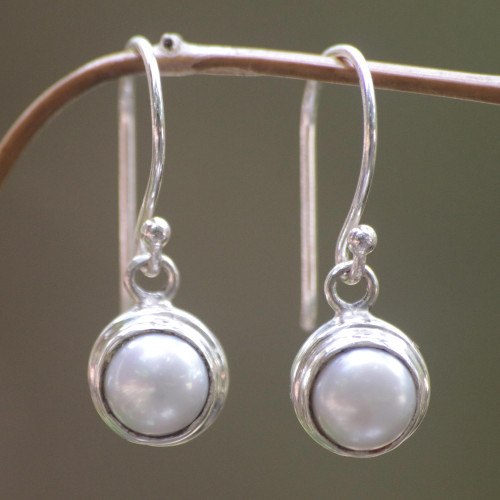 Sterling Silver and Pearl Dangle Earrings 'Full Moon'