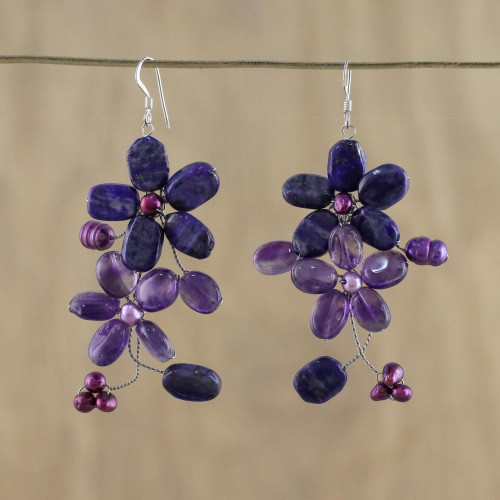 Amethyst and Lapis Lazuli Flower Earrings 'Blossoming'