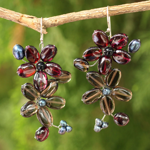 Garnet and Quartz Flower Earrings 'Blossoming'