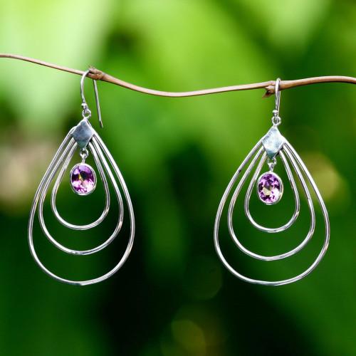 Amethyst dangle earrings 'Mystic Dancer'