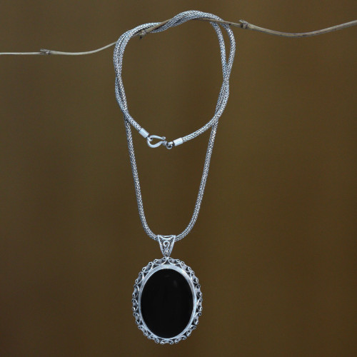 Sterling Silver and Onyx Pendant Necklace 'Midnight Lace'