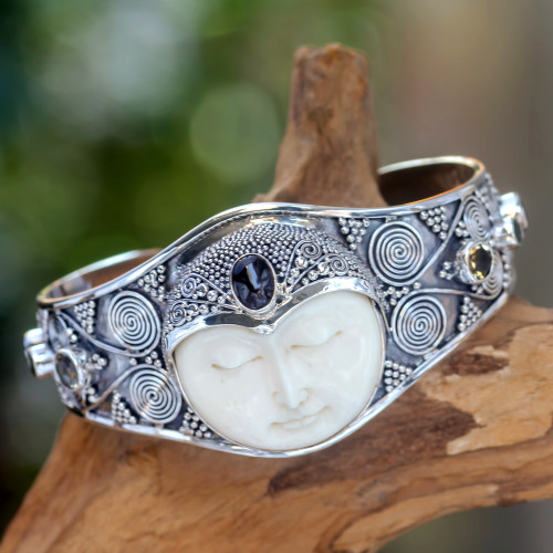 Handcrafted Sterling Silver Cuff Bracelet from Indonesia 'Imperial Woman'