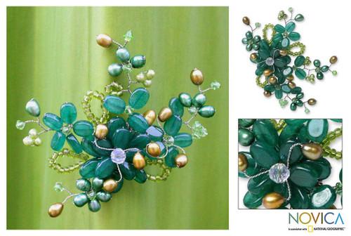 Handcrafted Floral Quartz Brooch Pin 'Floral Mint'