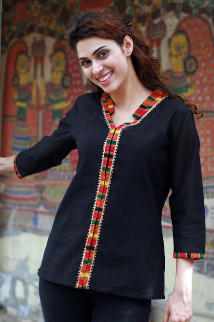 Women's Cotton Embroidered Blouse Top 'Midnight Jewel'