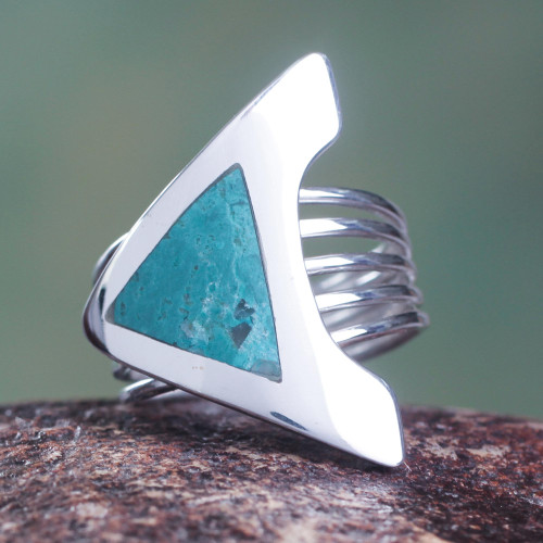 Chrysocolla and Sterling Silver Cocktail Ring 'Peace'