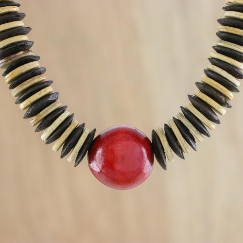 Fair Trade Coconut Shell and Wood Beaded Necklace 'Cherry Coco'