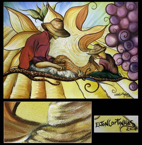 Acrylic Surrealist Painting 'The Harvest'