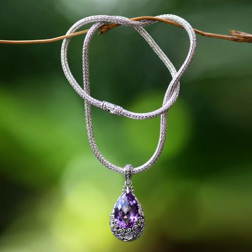 Amethyst Pendant Necklace on Naga Chain 'Lavender Teardrop'