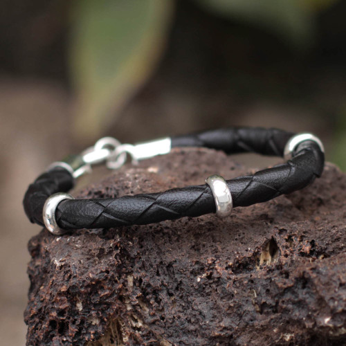 Collectible Men's Leather and Silver Wristband Bracelet 'Bold Black'
