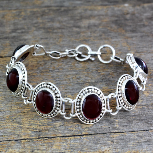 Garnet Bracelet Artisan Crafted Silver Jewelry from India 'Crimson Garland'