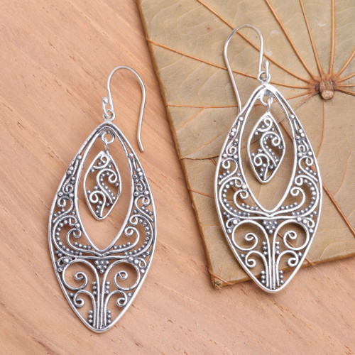 Sterling silver dangle earrings 'Lace'
