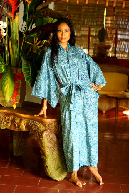 Artisan Crafted Long Batik Cotton Robe for Women 'Blue Forest'