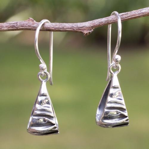 Modern Fine Silver Dangle Earrings 'Textures'