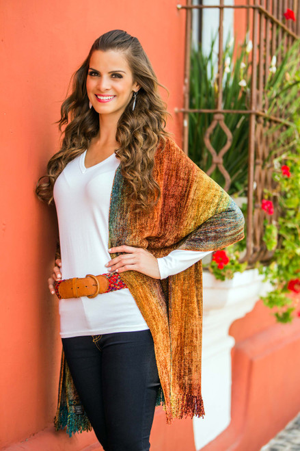 Rayon Chenille Patterned Women's Shawl 'Tropical Volcano'