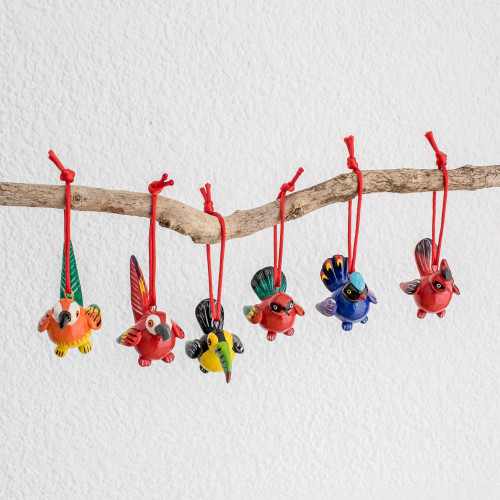 Handmade Ceramic Bird Christmas Ornaments Set of 6 'Tropical Birds'