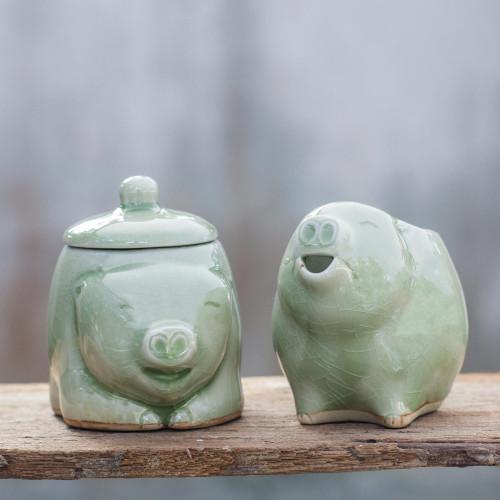 Unique Celadon Ceramic Sugar Bowl and Creamer Pair 'Piggy Cheer'