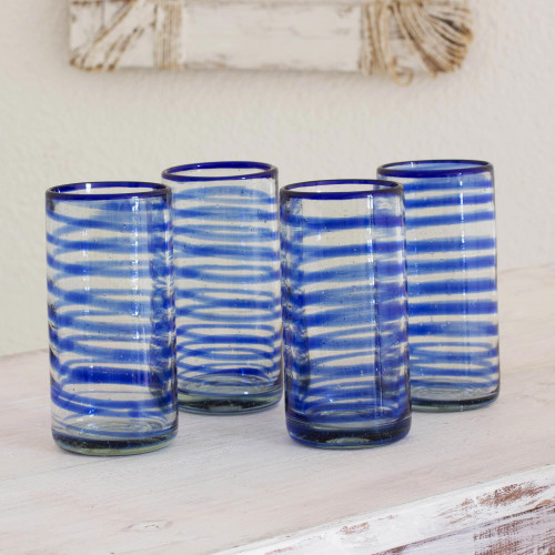 Collectible Handblown Recycled Glass Drinkware Set of 4 'Whirlwind'