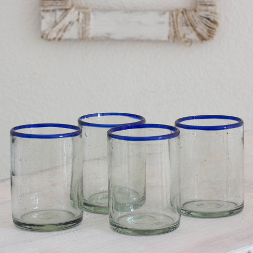 Handblown Recycled Glass Drinkware Set of 4 'Blues'