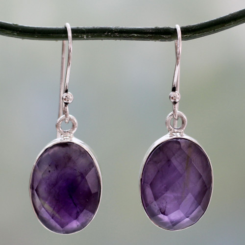 Sterling Silver Amethyst Earrings Fair Trade Jewelry 'Love's Grandeur'