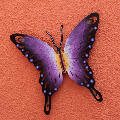 Hand Made Purple Butterfly Steel Wall Sculpture Mexico 'Soul of Wisdom'
