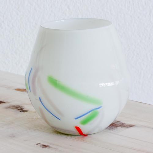 Handblown Recycled Glass Art Vase 'Saint's Day'