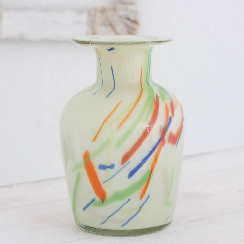 Unique Central American Handblown Recycled Glass Vase 'Carnival'
