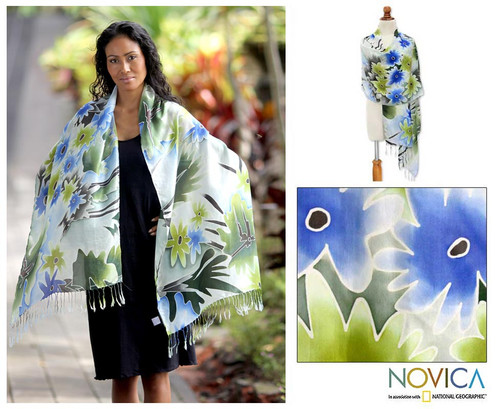 Silk Batik Shawl Handmade in Indonesia 'Festive Flowers'