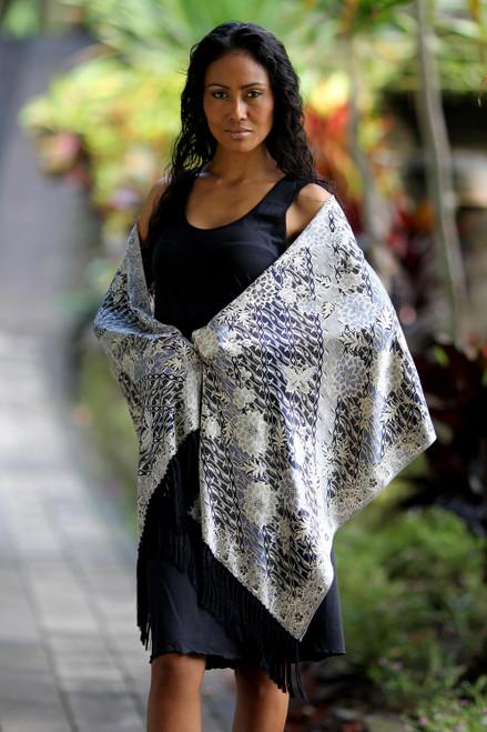 Silk batik shawl 'Butterfly Blossoms'