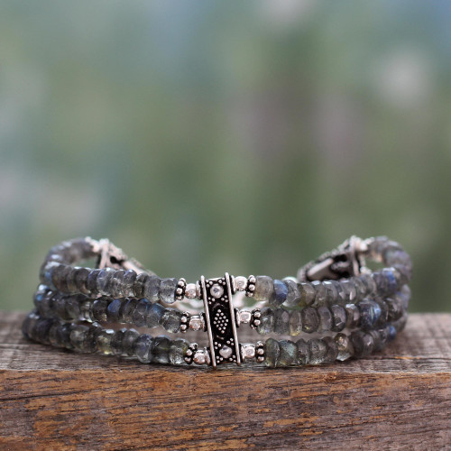 Hand Made Labradorite Beaded Bracelet with Sterling Silver  'Mystery of Love'