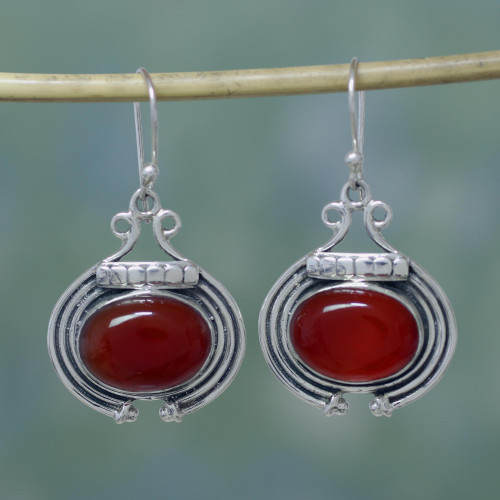 Artisan Jewelry Earrings with Carnelian and Sterling Silver 'Desire'